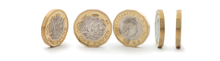 Pound coins illustrating cheap mailboxes from expost Scotland